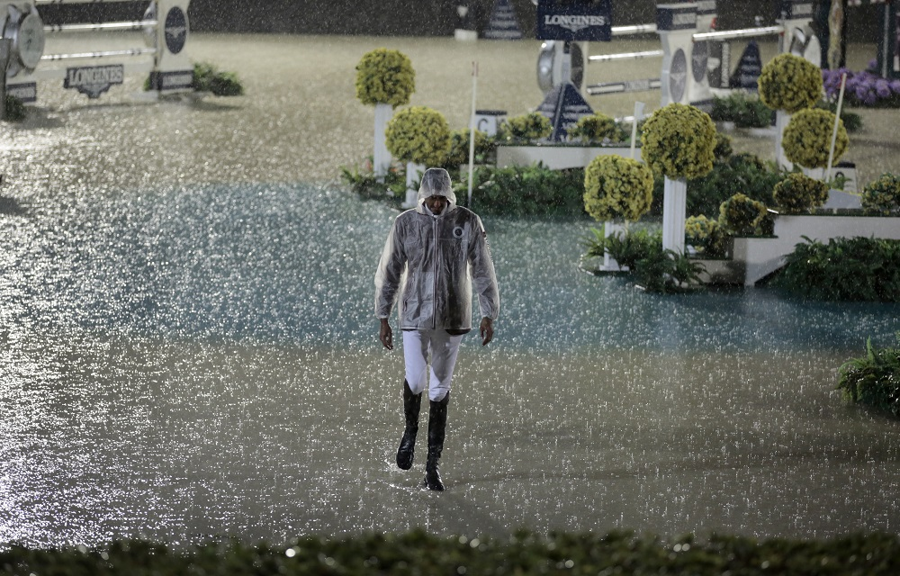 The Furusiyya FEI Nations Cup™ Jumping Final: Longines Challenge Cup was cancelled tonight due to adverse weather conditions in Barcelona (ESP). (FEI/Jim Hollander)