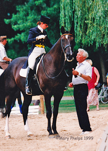 Monica and her father George Theodorescu in 1999 at Bad Honnef Dressage ©Mary Phelps 1999