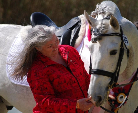 Terry with her beloved foundation Calificado stallion Fugitivo XII.