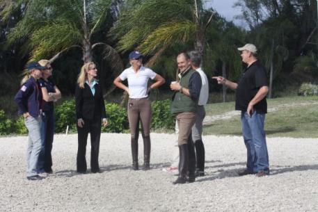 The USEF committee, Ann Gribbons, Eva Salomon and Heather Blitz, inspected the footing of the rings at the IHS Champions Park at the Equestrian Estates. (L to R) Ann Gribbons, Eva Salomon, Noreen O'Sullivan, Heather Blitz, Lars Petersen, Edward Borreson and John Flanagan. Photo By: Kendall Bierer/Phelps Media Group.