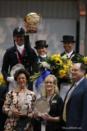 Patrik Kittel, Tinne Vilhelmson-Silfven, and Steffen Peters with World Dressage Masters sponsor Antonia Axel Johnson, Wellington Classic Dressage Show Manager Noreen O'Sullivan, and WCD Managing Partner John Flanagan photo: SusanJStickle.com