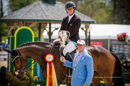 Lauren Kieffer was awarded the USET Foundation's Pinnacle Cup Trophy as the highest placed American rider at the 2014 Rolex Kentucky Three-Day Event CCI 4*.  Photo By: Shannon Brinkman.