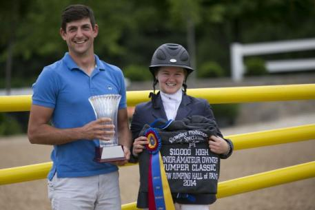 Nathan Rolfe of Upper Echelon Academy and ,000 SJHOF High Junior/Amateur-Owner Jumper Classic Winner Kelsey Thatcher