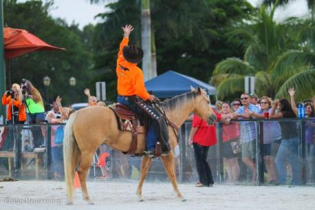 Rick Steed got the crowd going with his bridleless reining demonstration