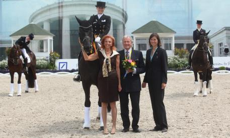 Kristina Sprehe at the Aachen CHIO Dressage competion resulted in 1st place in the MEGGLE Prize, Grand Prix Special