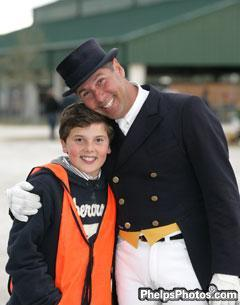 Marco Bernal and Marco Jr. Marco's family often participates as volunteers at local dressage shows.