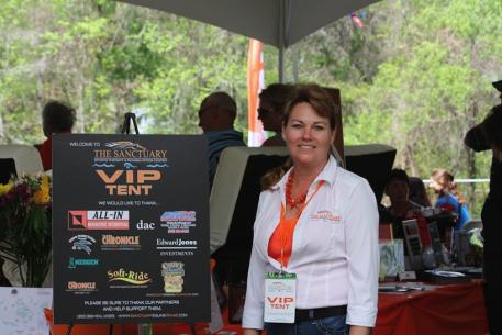 Brenda McDuffee of The Sanctuary at the VIP tent during the marathon