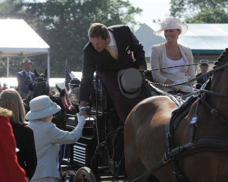 Chester Weber being congratulated by Her Royal Highness Queen Elizabeth II. (Photo courtesy of Kit Houghton/HPower)
