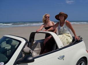 Mary and Nancy Phelps on the beach in Daytona