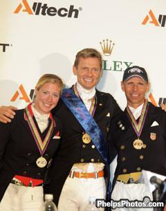 Silver Medallist Laura Bechtolsheimer (GRBR) Gold Medallist Edward Gal (NED) and Bronze Medallist, Steffen Peters (USA) at Alltech/FEI World Equestrian Games