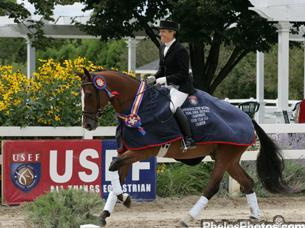 Karen Monks Riley and Aesthete won the Markel/USEF National Dressage Young Horse 4-Year-Old Championship in 2009