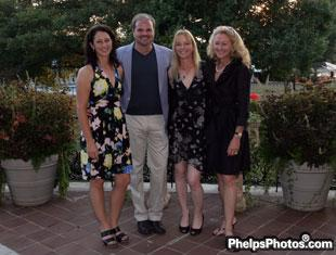Catherine Haddad joins US Team riders Todd Flettrich, Katherine Chandler, and Tina Konyot at DressageDaily's sponosred welcome dinner in Kentucky at Spindletop Hall.