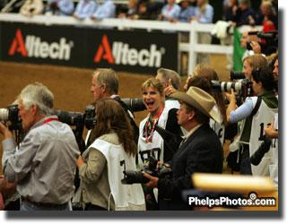 Mary Phelps-Hathaway in the sea of photographers at the Alltech/FEI World Equestrian Games (Photo: JJ Hathaway)