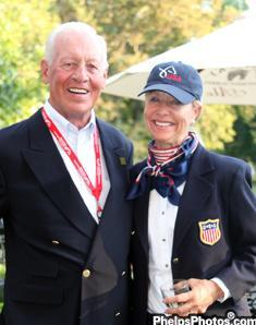 Anne Gribbons enjoys catching up with her former trainer Harry Boldt at the Alltech/FEI World Equestrian Games