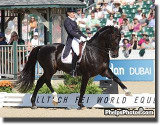 American rider Tina Konyot and her powerful black stallion Calecto V by Come Back II at the Alltech/FEI World Equestrian Games 2010 