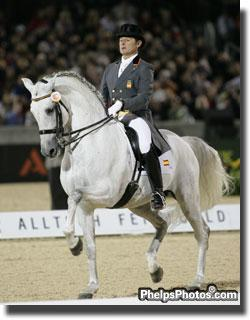 Juan Manuel Munoz Diaz and his 12-year-old PRE stallion Fuego XII at the Alltech/FEI World Equestrian Games 2010 Photo: Mary Phelps - phelpsphotos.com