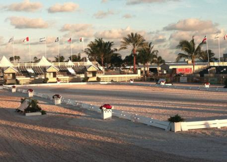 The outdoor stadium of the Global Dressage Festival in the pink glow of the Florida setting sun. (Photo: Beverly Rogers)