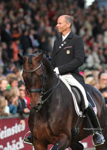 Steffen Peters and Weltino's Magic enjoy one of three victory rounds at Aachen CHIO 2011 (Photo: PhelpsPhotos.com)