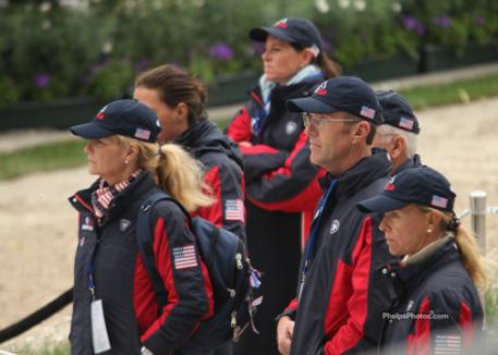 US Dressage Team supporters watch as Jan Ebeling and Rafalca do their test in Germany at the 2011 Aachen CHIO. l-r - Eva Salomon, Amy Ebeling, Guenter Seidel, and team coach, Anne Gribbons