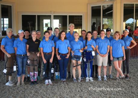 The young up-and-coming dressage riders who took part in Robert Dover's Horsemastership Clinic in Wellington show off their beautiful new halters donated by Windsor Equestrian. A supplier of high quality dressage tack and equipment, Windsor Equipment helped sponsor the clinic. (Photo: PhelpsPhotos.com)