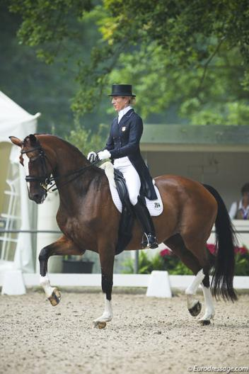 Arlene(Tuny) Page and Alina, a 15 yr old Danish Warmblood (Michellino x Diamant) scoring a respectable 67% in Rotterdam Photo: Astrid Appels