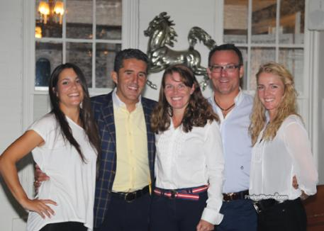 Laura Pradells, Dr. Cesar Parra, Katie Riley, and Nadine Burbel enjoy competitors' party at the Dunham Wood Riding Club. Photo: Mary Phelps