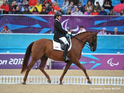 Lauren Barwick and Ashley Gowanlock were first in the ring on the opening day of Equestrian competition for Canada at 2012 Paralympics on Thursday, August 30, at the 2012 London Paralympic Games. (Photo: Lindsay McCall)