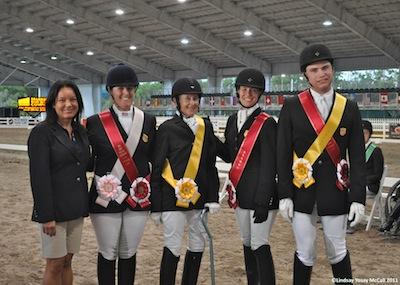 USA Team (L to R) USEF Para-Equestrian Director Pam Lane, Mary Jordan, Dale Dedrick, Rebecca Hart, and Jonahtan Wentz