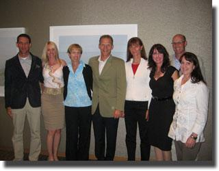 2011 Canadian Dressage Team (left to right):  Technical Leader Markus Gribbe, team riders Tina Irwin, Diane Creech, and Tom Dvorak, Chef d'equipe Gina Smith, alternate rider Roberta Byng-Morris, Team Veterinarian Dr. Alan Manning, and team rider Crystal Kroetch.