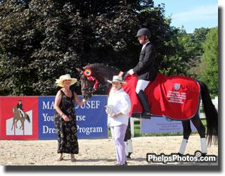 Markel Equine Insurance agent DressageDaily's Mary Phelps and Betsy Juliano congratulate George Williams and Horizon on their Four-Year-Old reserve Championship win at the 2011 Markel/USEF National Young Horse Championships