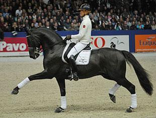 Edward and Voice in a clinic at the KWPN Stallion Show in s-Hertogenbosch Picture Diana Bloemendal www.imadia.nl