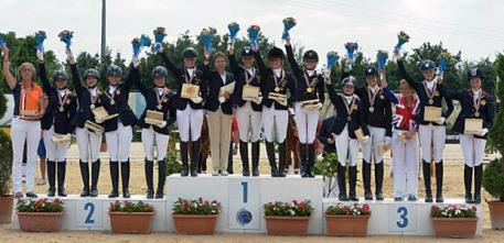 Team-podium at the European Pony Championships, Silver Netherlands, Gold Germany and Bronze Great Britain (Photo: © 2013 Arezzo Equestrian Center/Digital World)