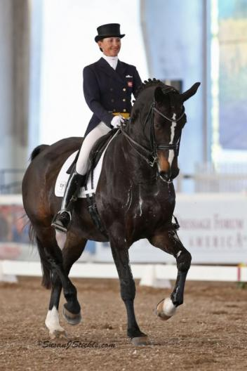 Mikala Gundersen and My Lady owned by Janne Rumbough, is a 13-year-old Danish Warmblood mare by Michellino out of a mare by Ritterstern. photo: Susan J Stickle