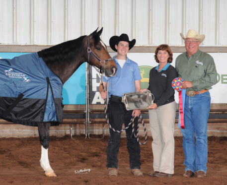 Western Leading Horse- Pica Peppy Doc L>R: Pica Peppy Doc, Micah King (Sportsmanship Winner), Roxane Lawrence (IEA Founder), Myron Leff (IEA Founder)