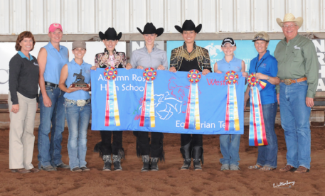 Middle School Champion: Autumn Rose Equestrian Team, Plain City , Ohio L > R: Roxane Lawrence (IEA Founder), Jocelyn Knerr (coach), Ashley Griffith (coach), Sophia Christy, Jessica Drown, Alexandra Orzo, Ashton Knerr, Debbie Griffith (coach), Myron Leff (IEA Founder)