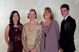 Winners of the FEI Awards 2012 in Istanbul. From left to right: Celia Rijntjes (NED), Courtney King-Dye (USA), Shumbashaba-Horses Helping People: Sharon Boyce (RSA), Thomas McDermott (AUS).