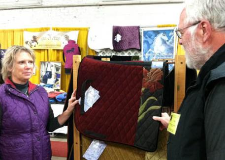 Elizabeth Creamer of Ambleside Designs - hand made luxurious velvet and tapestry saddlepads, as well as stylish handbags.
