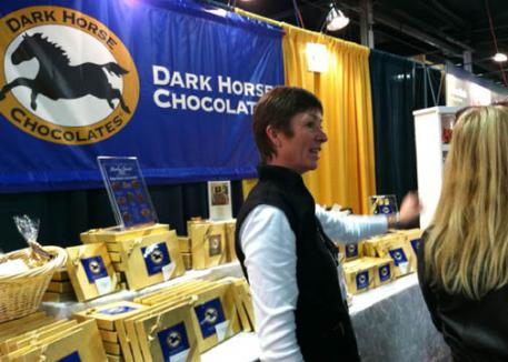 Phyllis LeBlanc of Dark Horse Chocolates - chocolates made with the finest ingredients with designs that capture the noble beauty of the horse.