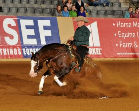 Spooks Gotta Whiz  and Shawn Flarida won the first leg of the Kentucky Reining Cup CRI at the Kentucky Horse Park. (Waltenberry photo)