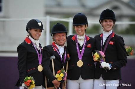 Gold Medal Winning Great Britain Team (Left to right) Sophie Wells, Lee Pearson, Deborah Criddle, Sophie Christensan (Photo: Lindsay Yosay McCall)
