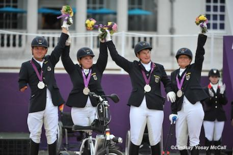Silver Winning German Team (Left to Right) Steffen Zeibig,Britta Napel,Angelika Trabert, and Hannelore Brenner (Photo: Lindsay Yosay McCall)
