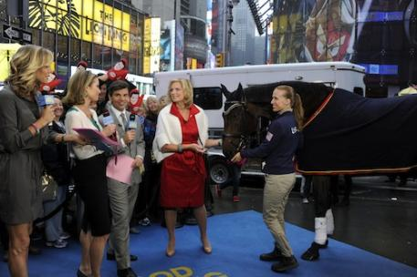 Good Morning America Team Lara Spencer, Amy Robach, George Stephanopoulos with Ann Romney, Rebecca Hart and Lord Ludger (Photo: (C)ABC/Ida Mae Astut)