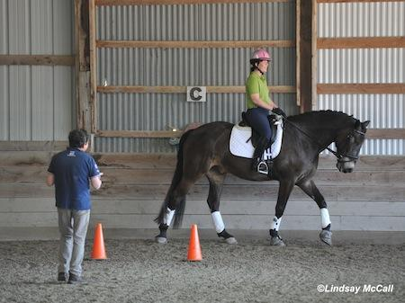 Gold Medal Para-Dressage Coach Clive Milkins from Great Britain at the May 2013 East Coast Symposium working with Roxanne Trunnell. (Photo: Lindsay Y McCall)