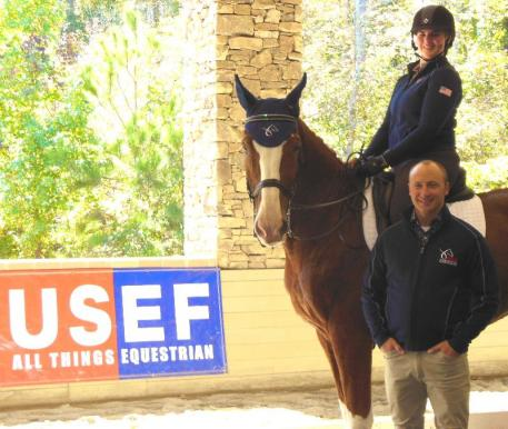 USEF Dressage Youth Coach Jeremy Steinberg with Rebecca Cohen at the training session. (Photo: Carol Cohen)
