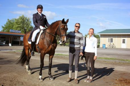 John McGinty, FEI Adult Amateur High Score on his horse, Playboy with trainer, Marcus Orlob and Shannon Stevens at the Centerline Events Dressage series at HITS Saugerties. (Photo courtesy of Natalie Hopper)