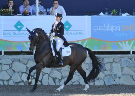Gold Medal USA Dressage Team member at the 2011 Pan American Games, Marisa Festerling and Big Tyme finished third in the individual Intermediaire I Test.(Photo: Diana de Rosa)