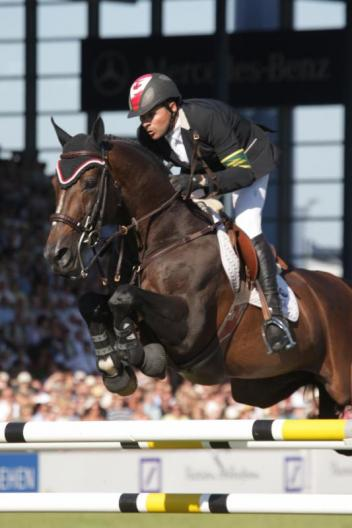 "Riding as an individual, Canada's Eric Lamaze won the Rolex Grand Prix of Aachen in 2010 riding Hickstead.""  Photo Credit - Frank Papelard, R&B Presse"
