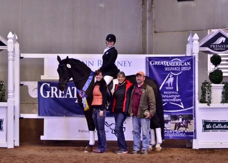 Layne Sandercott and Rolex Tyme won the GAIG/USDF Region V Third Level Adult Amateur Championship. Shown here with her trainer Maureen Sterling, mom Nancy Jacobs and dad Mark Sandercott. (L - R)