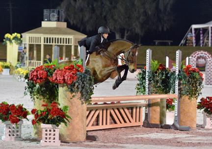 Alexa Bayko and Modigliani on their way to their second win in a row in the ,000 Platinum Performance Hunter Prix at HITS Ocala. ©ESI Photography