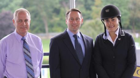 Michael Morrissey, President of Stadium Jumping Inc, Westchester County Executive, Robert Astorino and top show jumper, Brianne Goutal. Photo by Carrie Wirth.